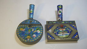 19th/20th C. Chinese Copper Enamel Box With Handle
