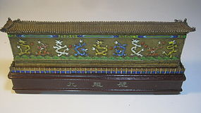 Early 20th C. Chinese Silver Enamel Nine Dragon Wall