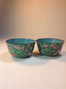 Two Old Chinese Canton Enamel Floral Bowls On Copper