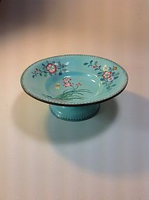A Beautiful Old Chinese Canton Enamel Stem Dish