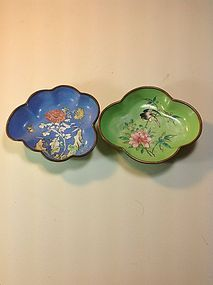 Two Beautiful Old Chinese Canton Enamel Dishes Marked