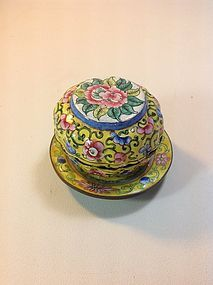 Late 19th/20th C. Chinese Canton Enamel Box & Dish