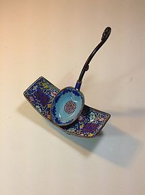 Pretty Chinese Qing Dynasty Canton Enamel Spoon & Dish