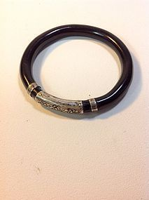 A Beautiful Old Rattan Bangle With Silver