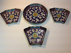19th C. Chinese Hand Painted Canton Enamel Dishes
