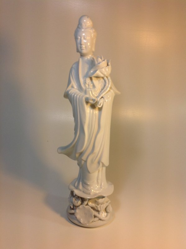 Early 20th C. Chinese Porcelain Blanc De Chine Guanyin