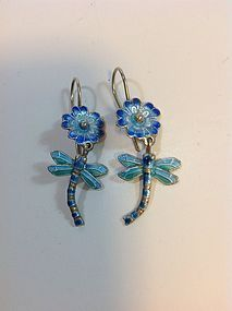 Pair Of Old Chinese Silver Enamel Dragonfly Earrings