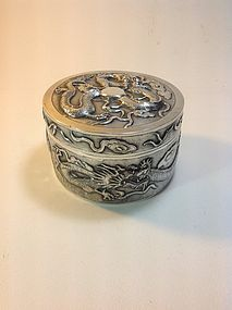 Beautiful 19th C. Chinese Export Dragon Silver Box MK