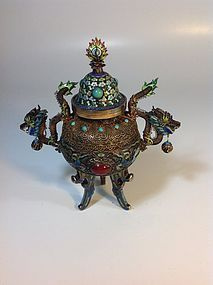 A Beautiful Old Chinese Silver Enamel Burner Marked