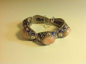 A Vintage Chinese Silver Enamel Rose Quartz Bracelet