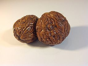 Pair of 19th C. Chinese Walnut Shell 18 Monks Carving