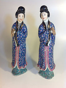 Pair Of 19th C. Chinese Porcelain Famille Rose Figure