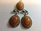 Vintage Chinese Silver Enamel Amber Earring & Pendant