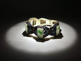 Beautiful Old Chinese Silver Enamel Jadeite Bracelet