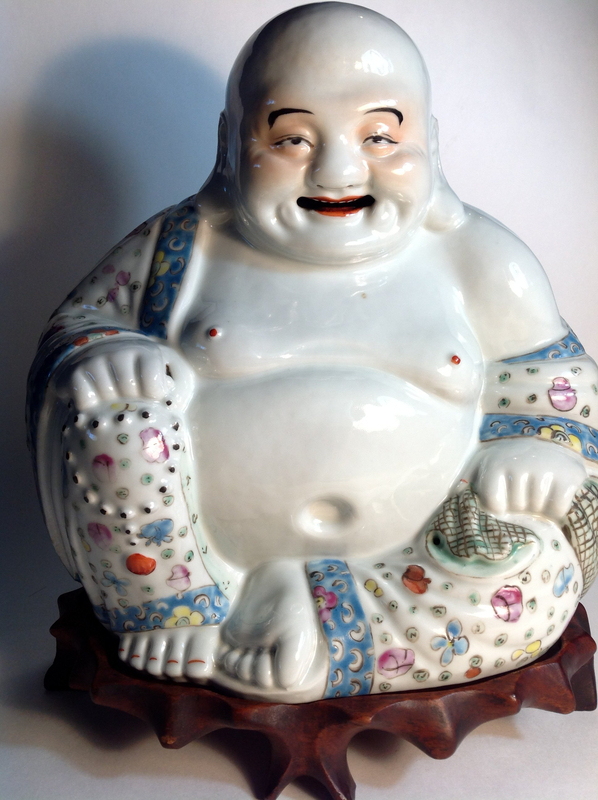 Early 20th C. Chinese Famille Rose Porcelain Buddha