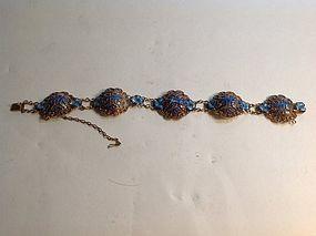 A Beautiful Vintage Chinese Silver Enamel Bracelet MK