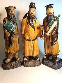 3pcs Beautiful Tall Old Chinese Mudman Marked