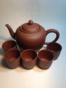 20th C. Chinese Yi Xing Clay Tea Pot And Cups Signed