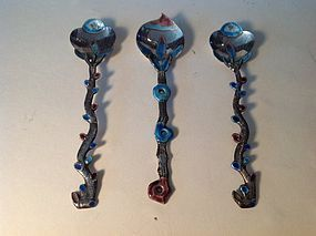 3 Pieces Of 19th C. Chinese Export Silver Enamel Spoons
