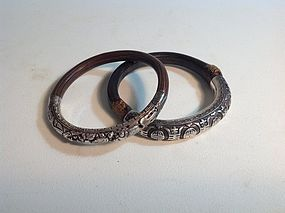 Two Beautiful Of Old Chinese Rattan Bangles With Silver