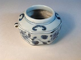 17th/18th C. Chinese Blue And White Porcelain Bird Feeder