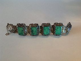 Beautiful Antique Chinese Gold Washed Silver W Jadeite Bracelet MK