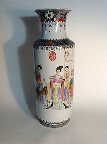 Beautiful Early 20th C. Chinese Famille Rose Porcelain Vase Marked
