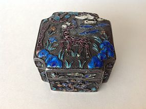 Beautiful Early 20th C. Chinese Silver Enamel Square Box Marked
