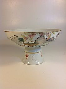 Late 19th C. Chinese Famille Rose Porcelain Stem Dish Signed