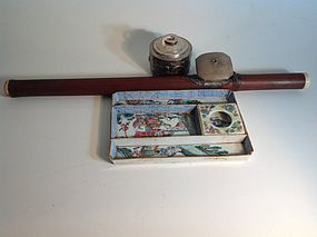 19th C. Chinese Bamboo Opium Pipe W Porcelain tray & Silver Lamp