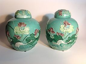 Pair 19th/20th C. Chinese Large Size Porcelain Susancai Lidded Jars