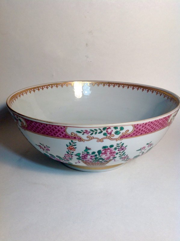 Early 18 C. Chinese Export Rose Canton Porcelain Large Punch Bowl
