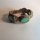 Beautiful Vintage Chinese Silver Gold Washed With Jadeite Bracelet MK