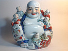 Beautiful Chinese Famille Rose Porcelain Buddha With Five Boys