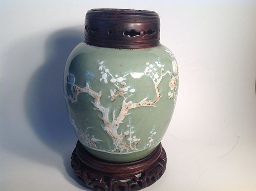 18th C. Kangxi Chinese celadon green glazed porcelain jar w wood cover