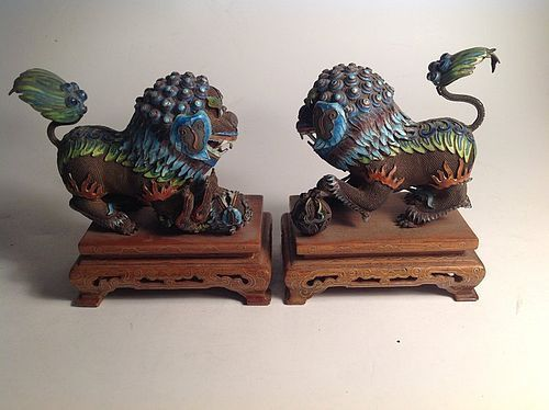 Pair Of Early 20th C. Chinese Silver Enamel Lions With Wooden Stand