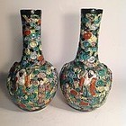 Pair Of 19/20th C.Chinese Biscuit Porcelai Eight Immortals Carve Vase