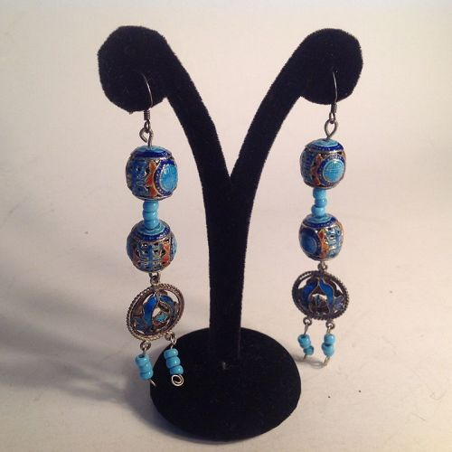 Early 20th C. Chinese Silver enamel Earrings