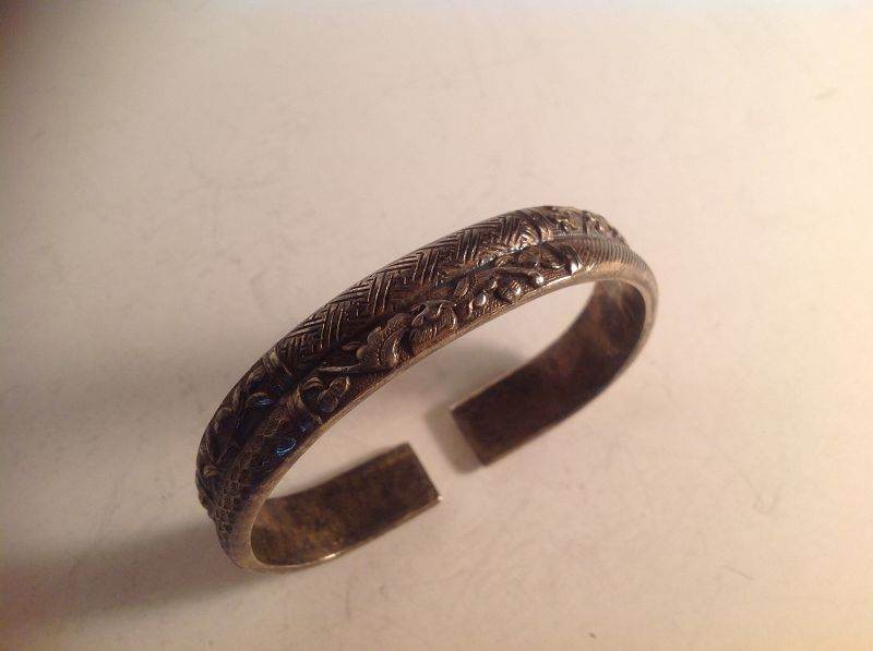 19/20th C. Chinese Antique  Silver Split Bangle Marked