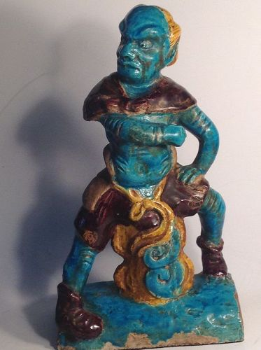 Chinese Ming Dynasty Roof Tile Figure Turquoise Demon Guardian