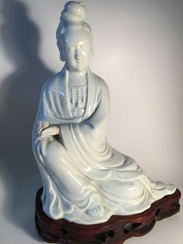 Early 20th C. Chinese Blanc De Chine Porcelain Guanyin Marked