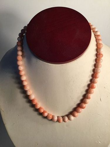 Vintage Chinese Samon Angel Skin Pink Coral Necklace