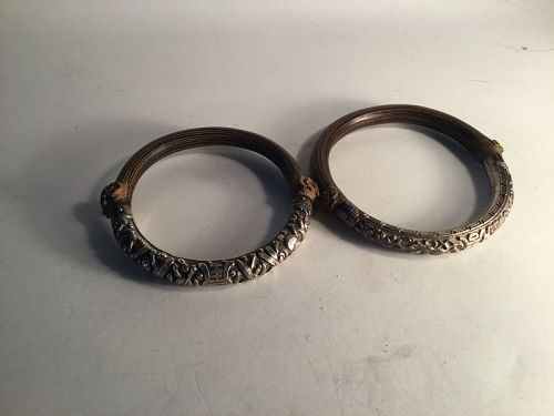 Two Beautiful Antique Chinese Silver Rattan Bangles Signed