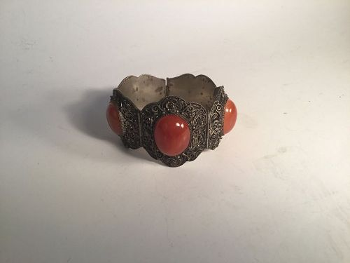A Beautiful Antique Chinese Silver Agate Bracelet Signed