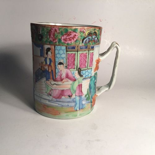 19th C. Chinese Export Porcelain Rose Canton Large Mug