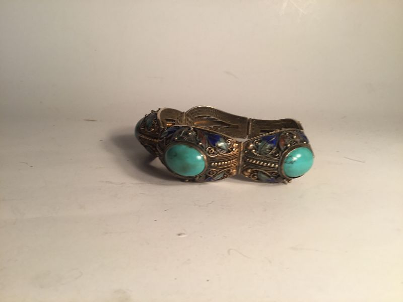 Early 20th C. Chinese Silver Enamel Turquoise Bracelet Marked