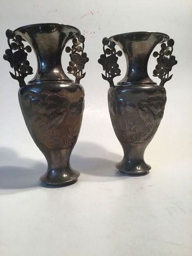 A pair of 19/20th C. Chinese Export Silver Amphora Vases Marked