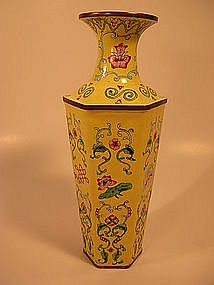 A Fine Chinese Enamel Copper Hexagonal Vase