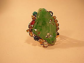 A beautiful Chinese Jadeite Ring with gemstones