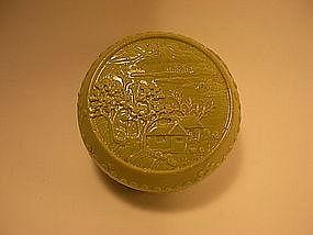 A fine 19thC carved porcelain ink box